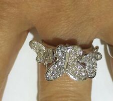 1100$/18k Solid White Gold Cluster Butterfly Rind  Diamond  VS2  4.86GM Size 6.