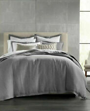 Hotel Collection Solid Gray 100% Linen Full/Queen Duvet Cover