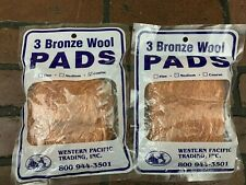 Bronze Wool Pad Lot of 6 Pieces, 3 Medium and 3 Course