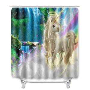 Unicorn Shower Curtain Bathroom Rug Set Bath Mat Non-Slip Toilet Lid Cover