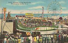 Playland on the Boardwalk Wildwood By The Sea NJ Postcard Amusement Park