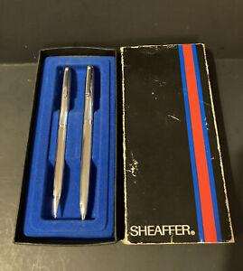 Vintage Sheaffer Silver Ballpoint Pen & Pencil Set In Original Box Blue Ink