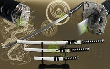 3pc Set White Katana Samurai Sword Samurai Fighter Scabbard w/Free Display Stand