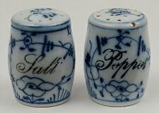 Antique Salt & Pepper Porcelain Blue & White Shakers
