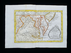 1754 J.N.BELLIN: NORTH AMERICA, UNITED STATES, CHESAPEAKE BAY, MARYLAND VIRGINIA