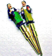 Cribbage Pegs 2-Hand Painted Old Time Waiter GO With Free Black Velvet Pouch USA