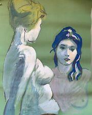 Ecole Provençale dessin ancien portrait feminin nu vers 1960