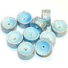 CPC242f Blue & Metallic Gold 16x8mm Round Heishi Porcelain Beads 10/pkg