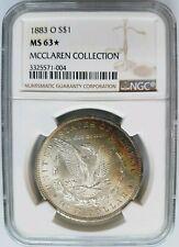 1883 O Silver Morgan Dollar NGC MS 63 Star McClaren Collection Rainbow Toned