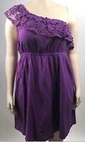 Lane Bryant Purple Crochet One Shoulder Dress Elastic Empire Waist Sz 22 24 3X
