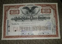 STOCK CERTIFICATE 98 Shares US UNITED STATES GLASS COMPANY CO Pennsylvania OLD!