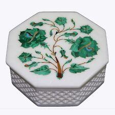 """4.5"""" Marble white Jewelry Box Inlay Pietra dura mosaic Handmade Art & Crafts"""