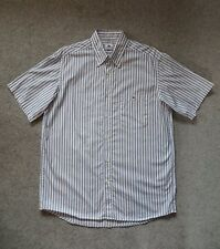 GENUINE LACOSTE MENS SHORT SLEEVED WHITE STRIPED COTTON SHIRT SIZE 42
