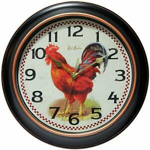 Infinity Instruments 14877BG-3521 Red Rooster Smooth Sweep No Tick Wall Clock