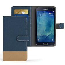 Tasche für Samsung Galaxy S5 / Neo Jeans Cover Handy Schutz Hülle Dunkelblau