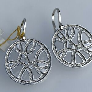 New REBECCA italy $195 Silver Filigree Circle Earrings NWT Glam Film Sparkle