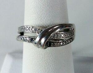 Genuine Black & White Diamond Bypass .925 Sterling Silver Ring