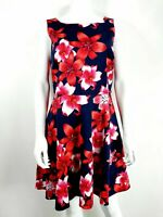 Oasis UK 12 Navy & Red Dress Floral Fit & Flare Wedding Party Occasion