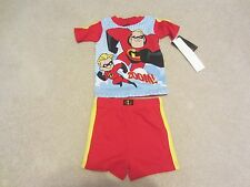 NWT NEW 2 piece Disney Mr. Incredibles Dash Shorts Cotton Summer Pajamas PJs 3T