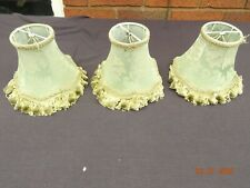 3 x Vintage GREEN Clip On Chandelier Wall Light Lamp Shades Boudoir Chic