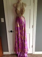 Mac Duggal Purple Gold Beaded Sequin Pageant Prom Formal Dress Size 2