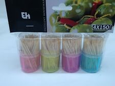 600 x WOODEN COCKTAIL TOOTHPICKS CHERRY OLIVES STICKS