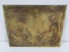 Fritz HUF (1888-1970) -Seltene Bronze Reliefplatte mit 3 Aktdamen am See um 1950
