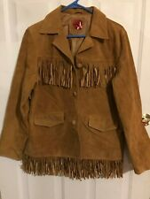 WOMENS CHESTNUT BROWN FRINGED SUEDE COAT SIZE MED EUC