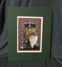 Matted Lesley Anne Ivory Maine Coon Cat Christmas Print