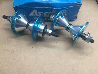 Nos Assess Alloy hubs blue 36H Front & Rear old school BMX kuwahara kz pk se