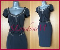 Gorgeous KAREN MILLEN UK 10 Dark Grey Jersey Cocktail Party Prom Occasion Dress