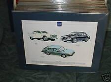 Classic Saab cars  Mounted full colour Print