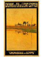 VINTAGE TRAVEL EGYPT POSTER Crepuscule en Egypte 1911 by M. Tamplough Art Print