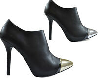 Ladies Black Faux Leather High Heel Ankle Shoe Boots Shiny Tip Toe Zip Sexy Size