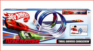 Hot Wheels Thrill Drivers Corkscrew Race Track Set + 2 Cars Double Loops Gift