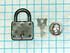 Vtg Antique Old Master Lock Co. Model Number 55 Iron Lever Padlock & Key # 37