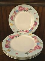 BRAND NEW GRACE'S TEAWARE BRAND NEW FLORAL DINNER PLATES LIGHT BLUE RIM 10.5""