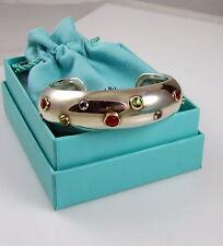 Tiffany & Co Silver 18K Gold Tourmaline Peridot Etoile Sapphire Cuff Bracelet