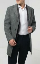 Harris Tweed Grey Herringbone Tweed Overcoat, Size L(42-44)