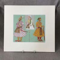 Antico Stampa Raj Indiano Empire Tribunale Abito Racinet Storico Costume Moda