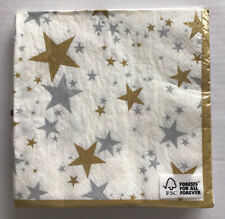 Paper Napkins 20 Gold And Silver Stars Paper Napkins 3 Ply Any Occasion.