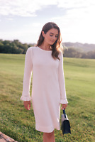 Gal Meets Glam Agnes Sweater Dress XXS Ruffle Sleeve Pointelle Wool Blend NWD