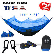 New listing Double Outdoor Parachute Nylon Hammock with Mosquito Net Blue - X-Large