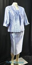 Alex Evenings embroidered flora 2pc Dress suit jacket shimmer blue MOB 16 P NEW