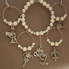 New Orleans Pewter Wine Glass Charms w/Storage Ring