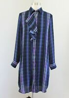 Banana Republic Blue Purple Plaid Ruffle Trim Shift Shirt Dress Size XS Collared