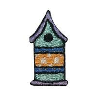 ID 0550AB Set of 2 Bird House Patches Tiny Home Embroidered Iron On Applique