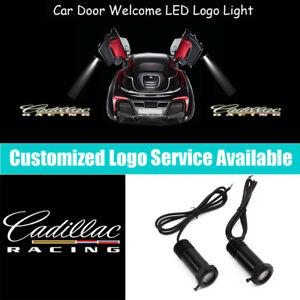 2x Cadillac RACING Logo Car Door LED Light Projector for CTS DTS ATS XT Escalade