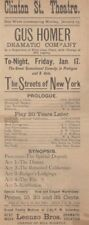 *THE STREETS OF NEW YORK RARE 1880 BROADSIDE DION BOUCICAULT MELODRAMA*