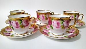 10pc Royal Albert Crown China Old English Rose Pink Gold Cup Saucer 1927-1935